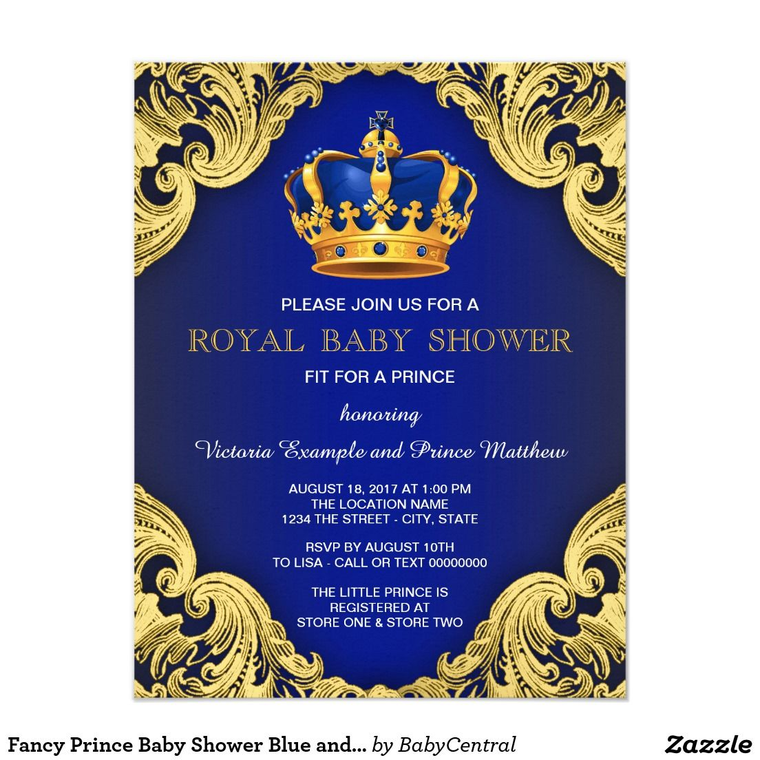 Fancy prince boy baby shower invitations. Royal blue and gold ...