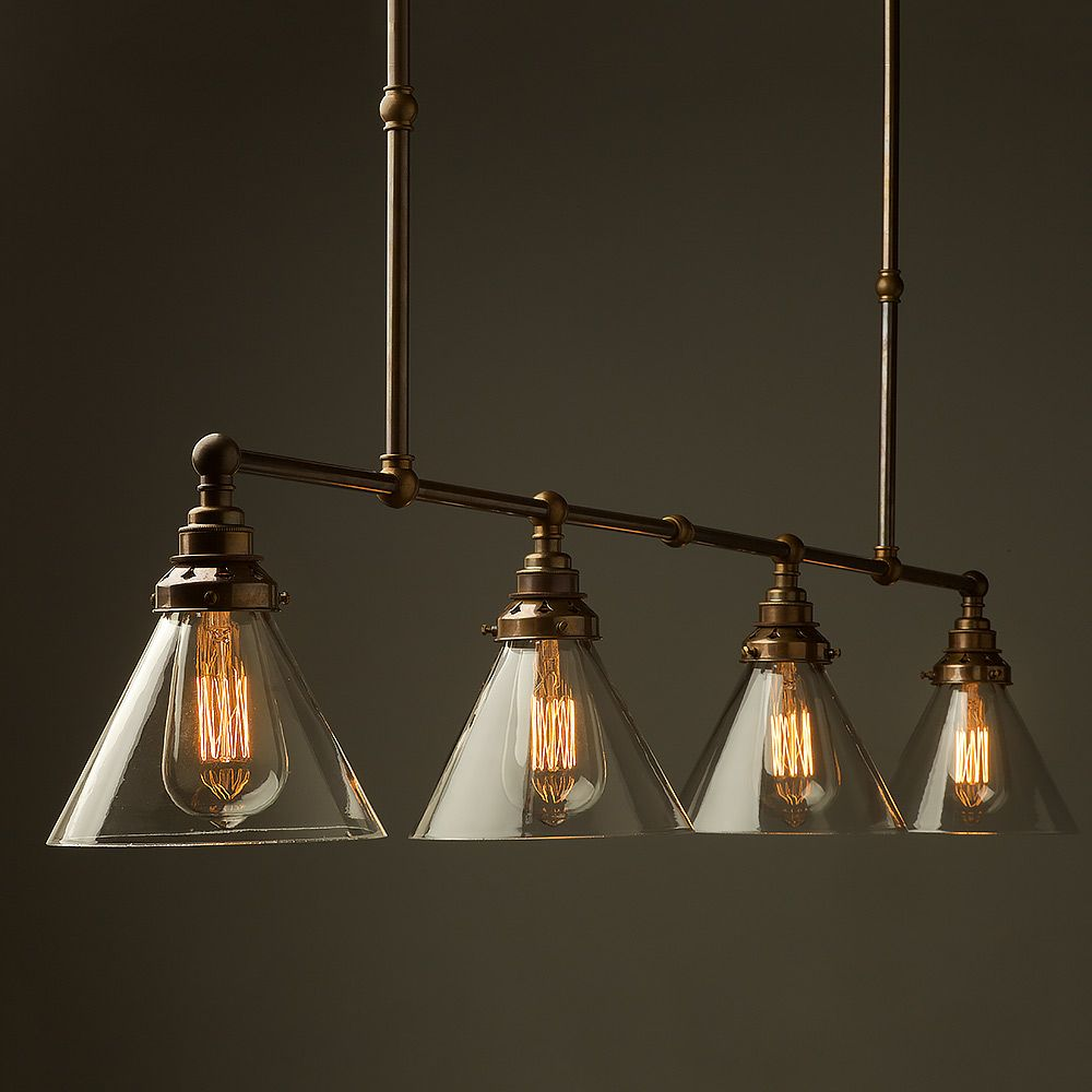 Vintage edison long billiard table light with four lampholders with vintage edison long billiard table light with four lampholders with a range of shade options arubaitofo Choice Image