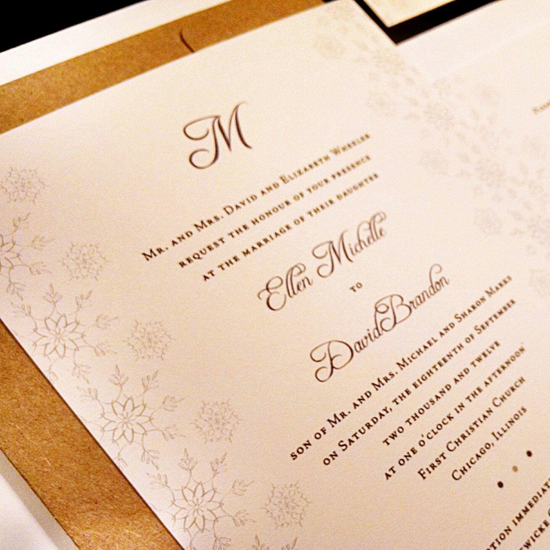 Snowflake Monogram Custom Unique Wedding Invitation Elegant Flourish ...