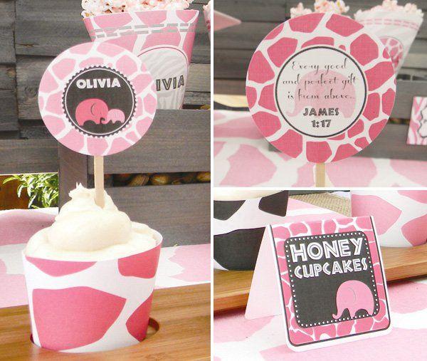 pink safari baby shower cupcakes