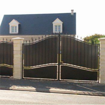 Portail battant fer Tangara noir, H212 cm, H212 cm l300 cm - portail de maison en fer