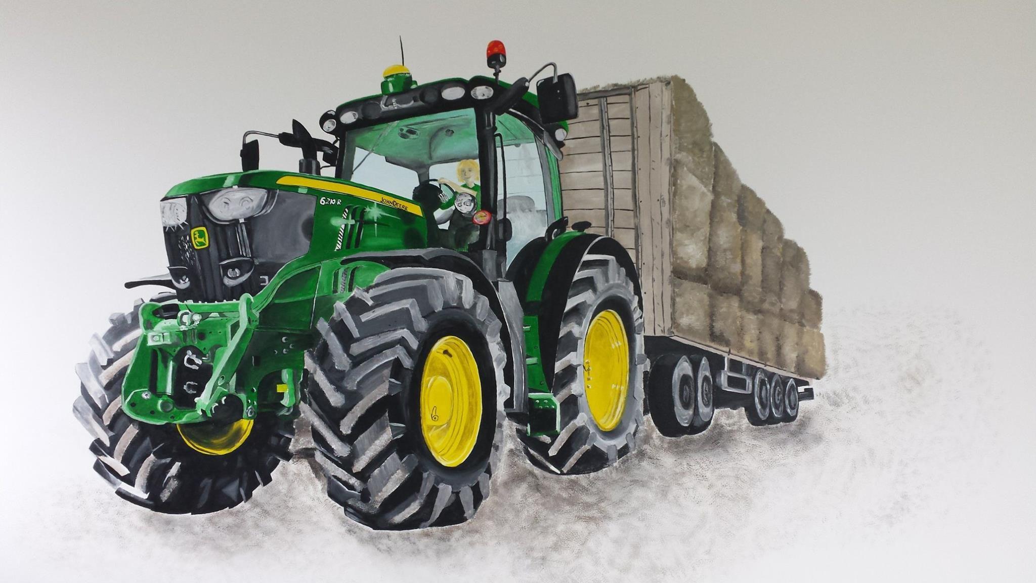 Muurschildering tractor John Deere