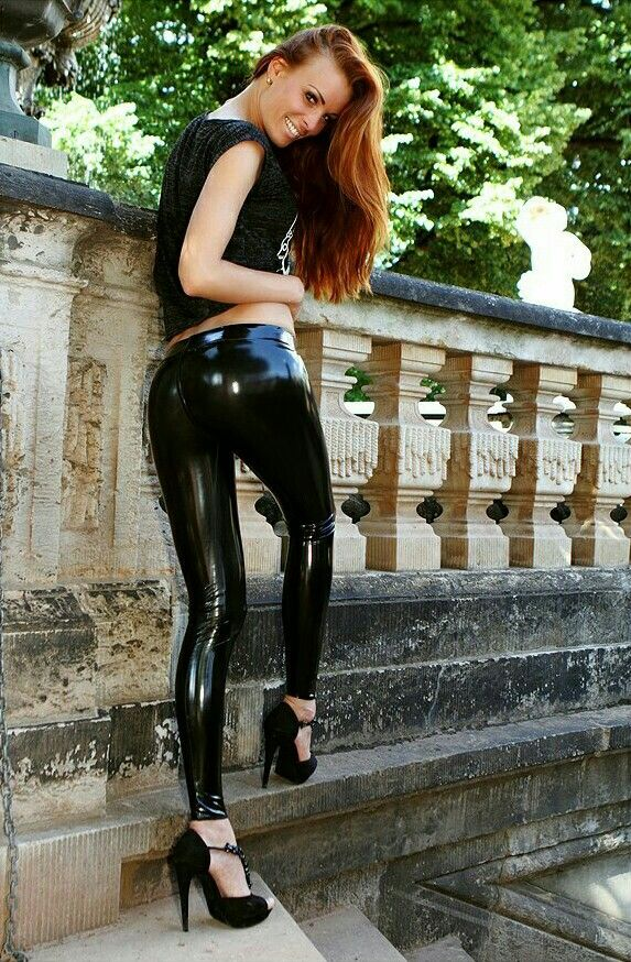 Hot Shiny Fashion Model Latex Jeans And Trousers