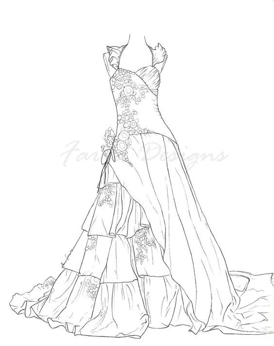 Pin By Bette Augustine On Embroidery Dress Patterns Barbie Coloring Pages Coloring Pages For Girls Colorful Fashion