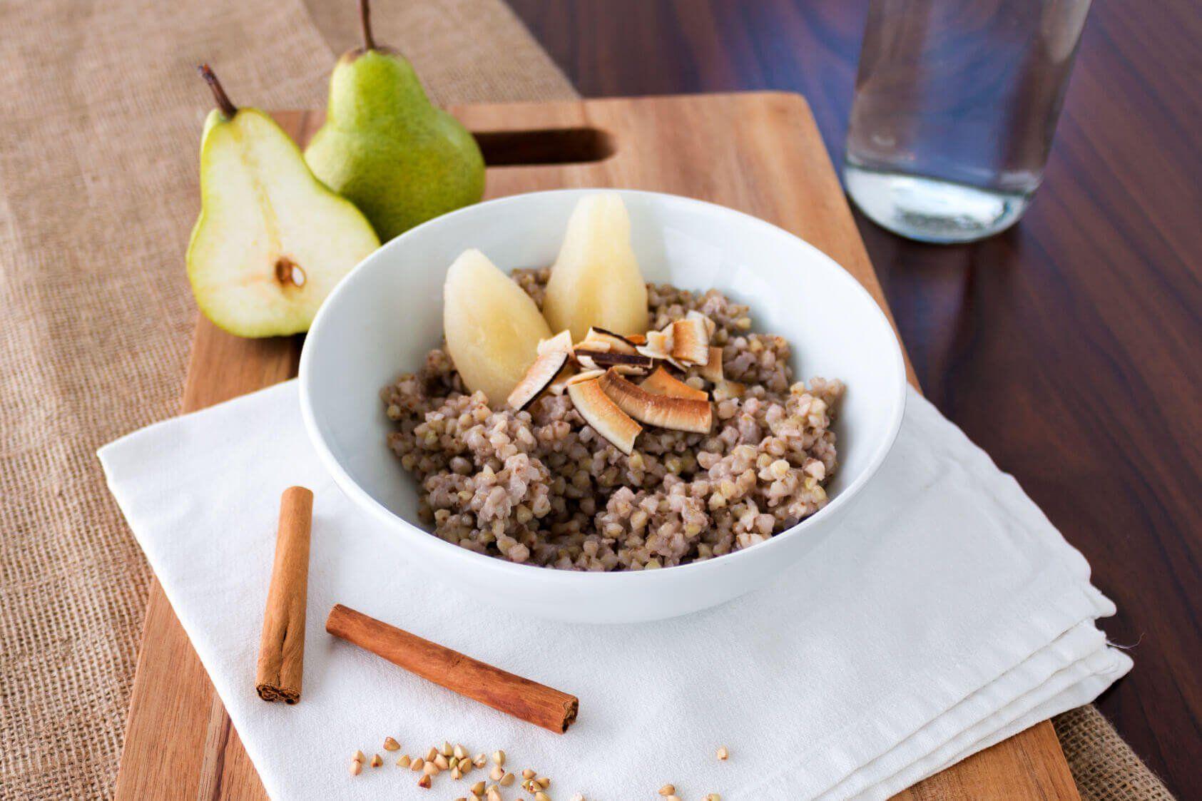 Buckwheat porridge an poached pears fruit in season