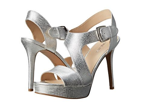 Nine West Saynomore Silver Metallic 6pm Com Metallic High Heels Silver High Heel Shoes Ankle Strap High Heels