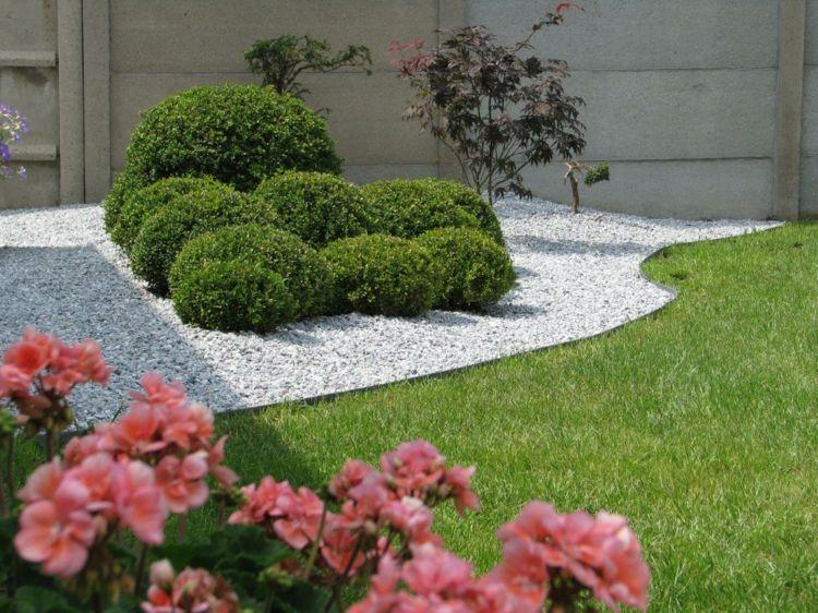 Rasenkante Im Garten Kies Weiss Buchsbaum Modern