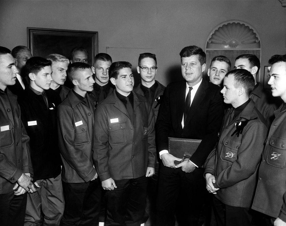 President John F. Kennedy with Boy Scouts. Boy Scouts