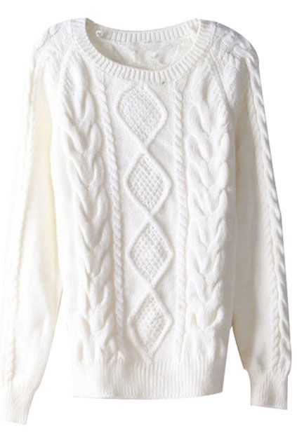 Rhombus Cable Knit White Jumper Fashion Streetstyle Fashion Wish