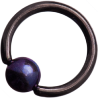Black Titanium (Blackline) Ball Closure Rings with Dark Purple Titanium Ball