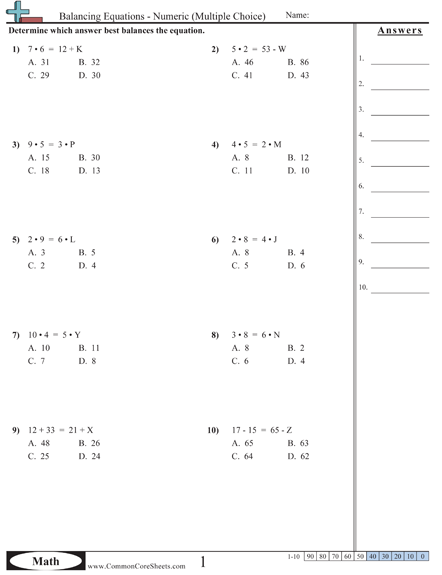 Balancing Equations Worksheets Math Worksheets, Free Math Worksheets,  Free Math