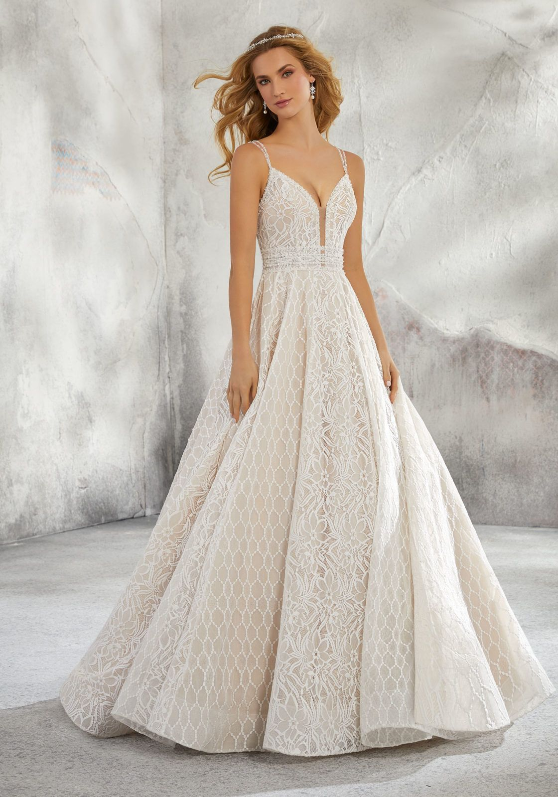 be446d849fc376 Lindsey Wedding Dress 8279 Mori Lee Romantic Bridal Ballgown Featuring  Mixed Patterened Embroidery. A Plunging Illusion Bodice, Trimmed with  Beaded Straps ...