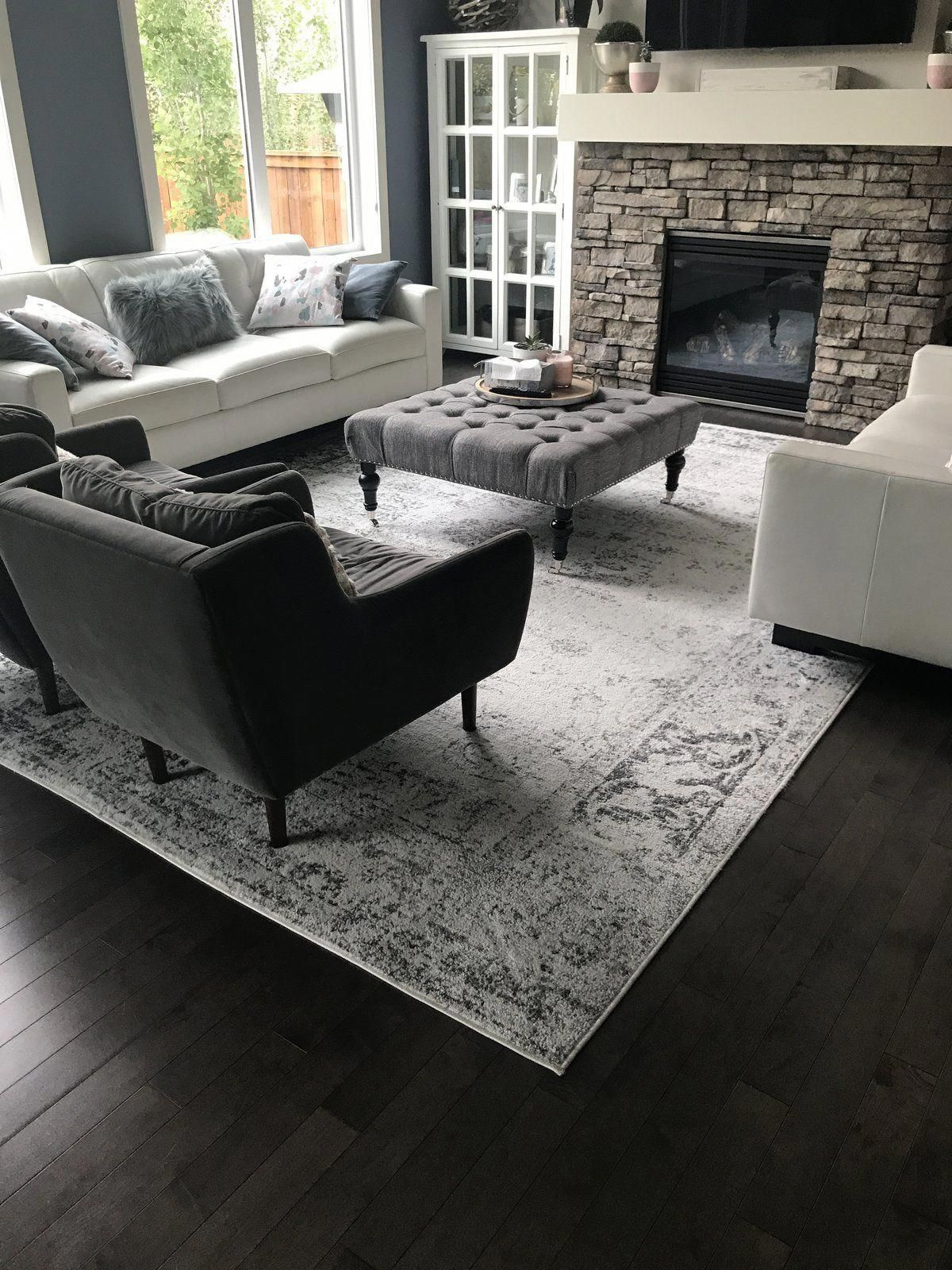 Rugs in living room - Farm house living room - Living room with