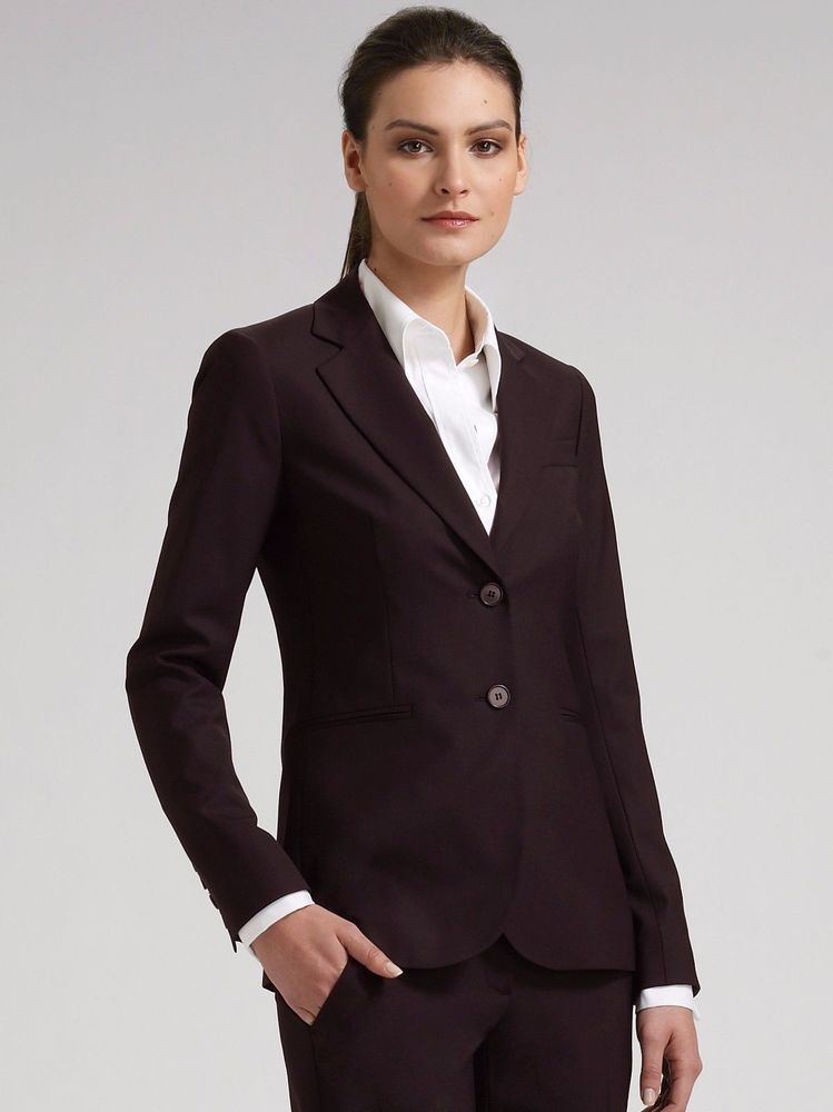Theory Women S Dark Brown Blazer Jacket 0 Xs Lined Two Button Rory