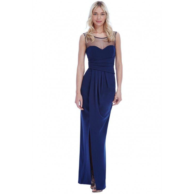 Granatowa Dluga Sukienka Wyszczuplajaca Z Siateczka I Rozcieciem Petite Maxi Dress Maxi Dress Evening Dresses Long