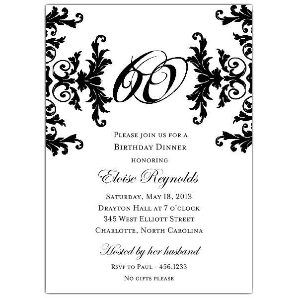 Black and White Decorative Framed 60th Birthday Invitations - sample invitation wording for 60th birthday