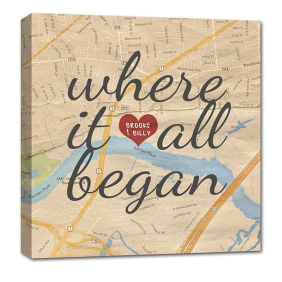 Gifts for anyone Canvas Map Art Where it all began custom map art, Personalized Couple Gift Idea, We