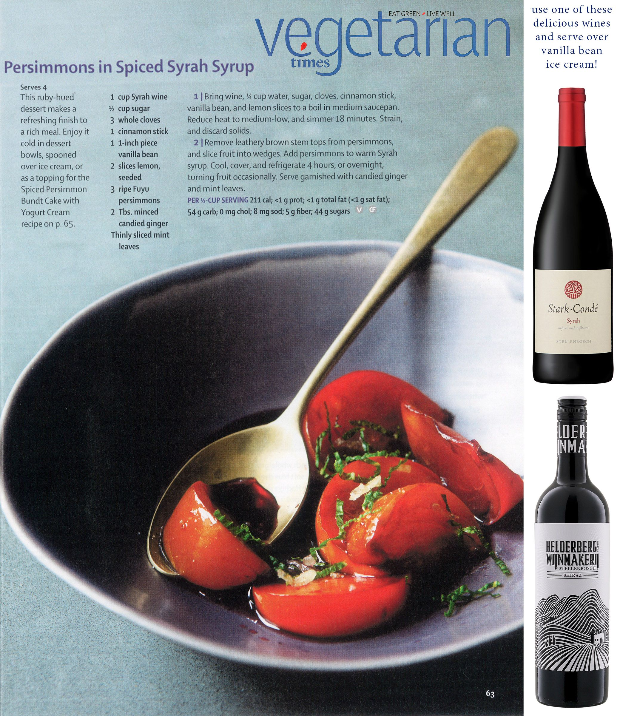 Persimmons In Spiced Syrah Syrup Persimmons Wine Food Pairing Wine Recipes