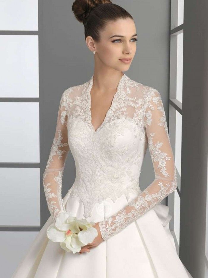 #weddings #weddingdresses #weddinggown #brides #bridal | Modest Long Sleeve Wedding Dress with Lace Illusion neck line.  Perfect for a church ceremony | We can create a bridal gown similar to this in any size.  We are a USA dress design firm who specializes in affordable custom wedding gowns.  Please contact us for more info on having a long sleeve lace bridal gown made specific for you. | www.dariuscordell.com/featured/long-sleeve-wedding-dresses-long-sleeve-bridal-gowns/