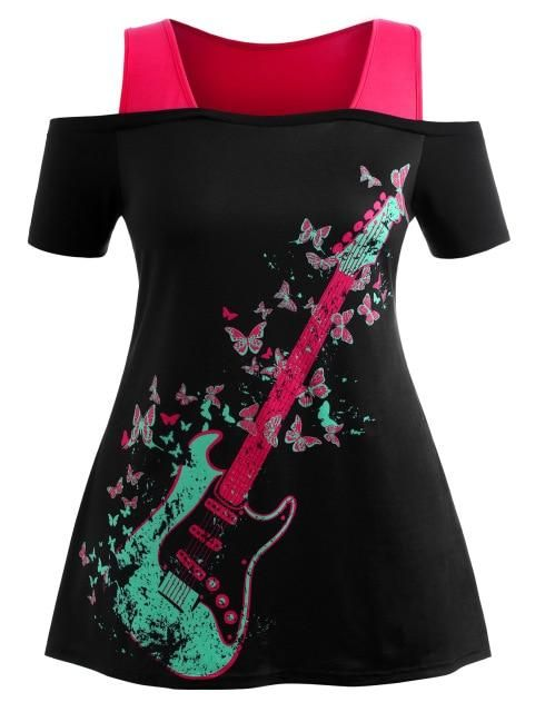 Plus Size Cold Shoulder Guitar Butterfly Graphic T-Shirt Women T Shirts Summer O Neck Short Sleeve T Shirt Ladies Tops as the pi #shortsleevedressshirts