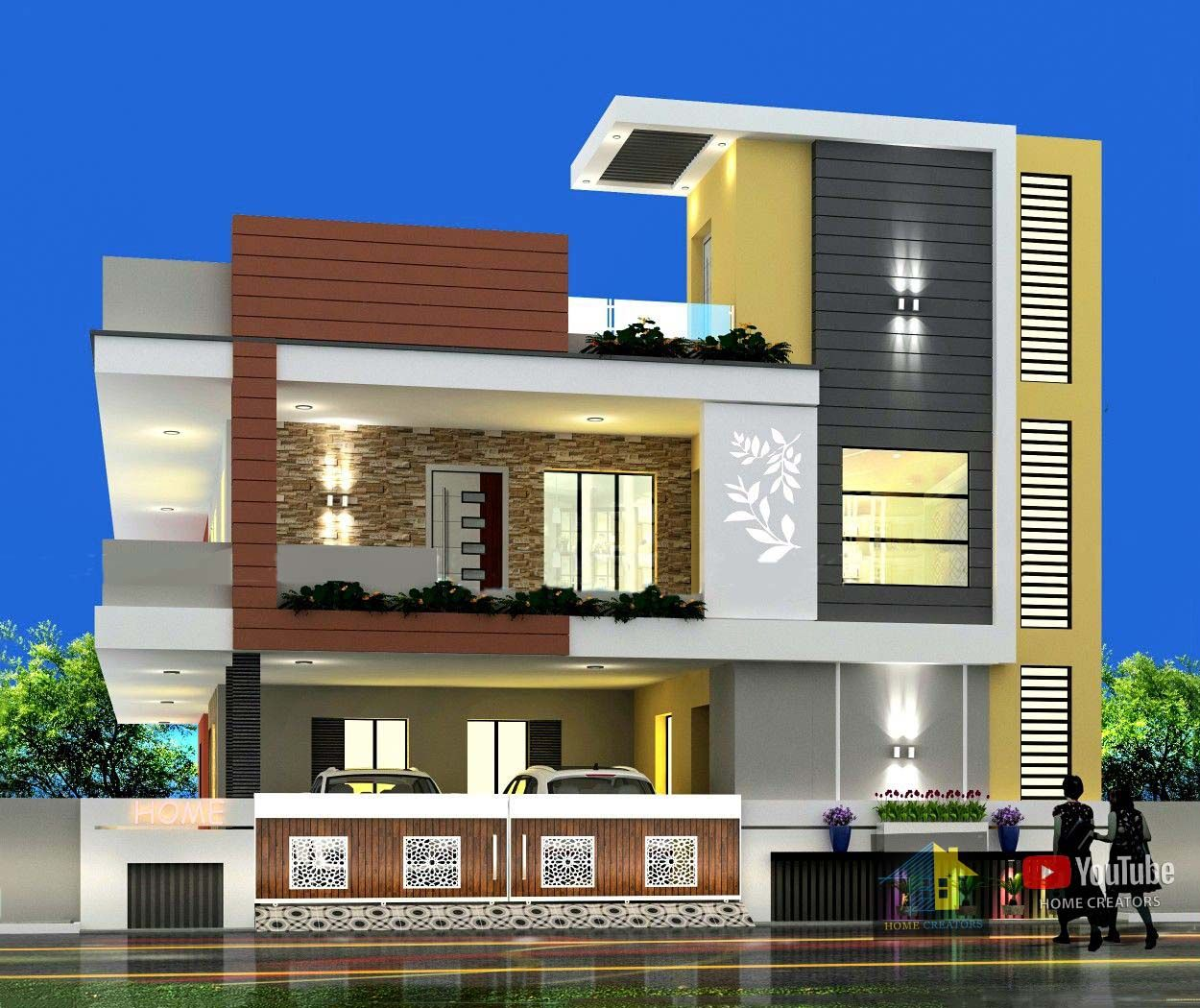 Double Floor House Elevation In India 2020 In 2020 House Elevation House Styles House