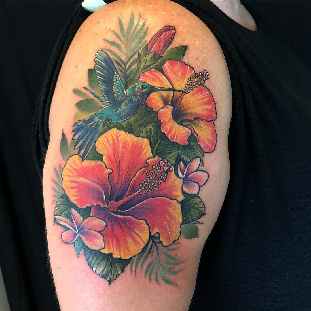 tropical 🌸🌺 hummingbird with hibiscus and plumeria flowers