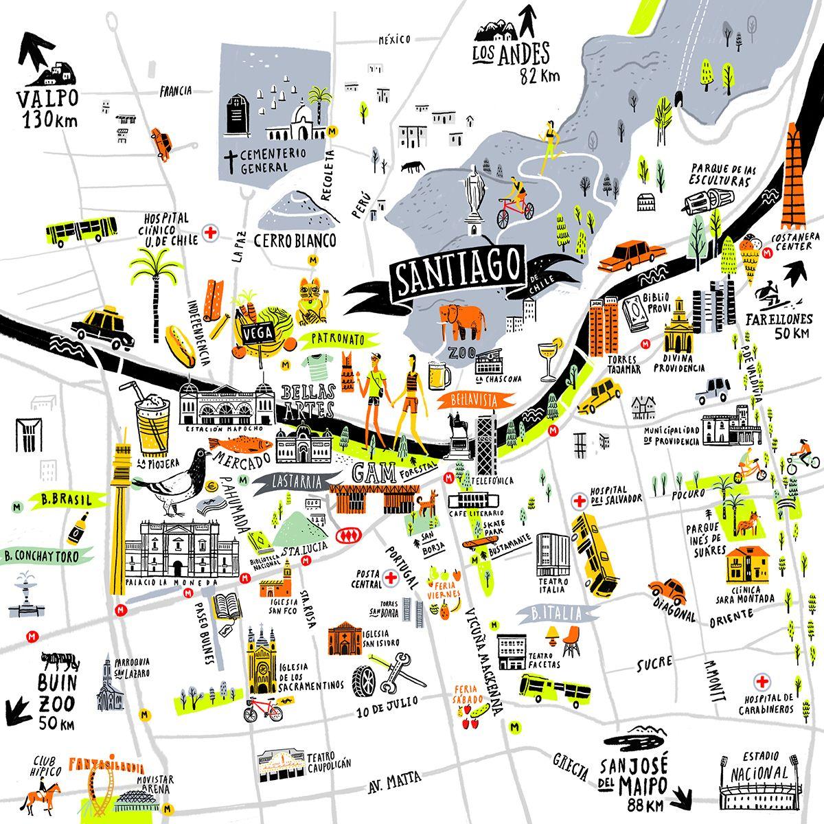 Santiago De Chile Mapa Turistico.Santiago Map Oyemathias Mapa Chile Santiago De Chile Y