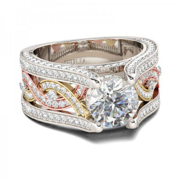 Interchangeable Crown Two Tone Created White Sapphire Wedding Set 13CT TW