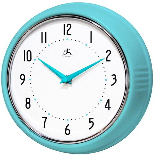 Lovely Infinity Instruments Turquoise Retro 9 1/2 Inch Metal Wall Clock