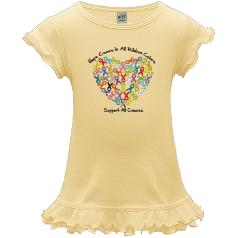 Hope Comes in All Ribbon Colors - Support All Causes A-Line Toddler Dresses  featuring ribbons shaped into a heart to advocate for all your causes $21.99 awarenessribboncolors.com  #cancerawareness #awarenessribbons