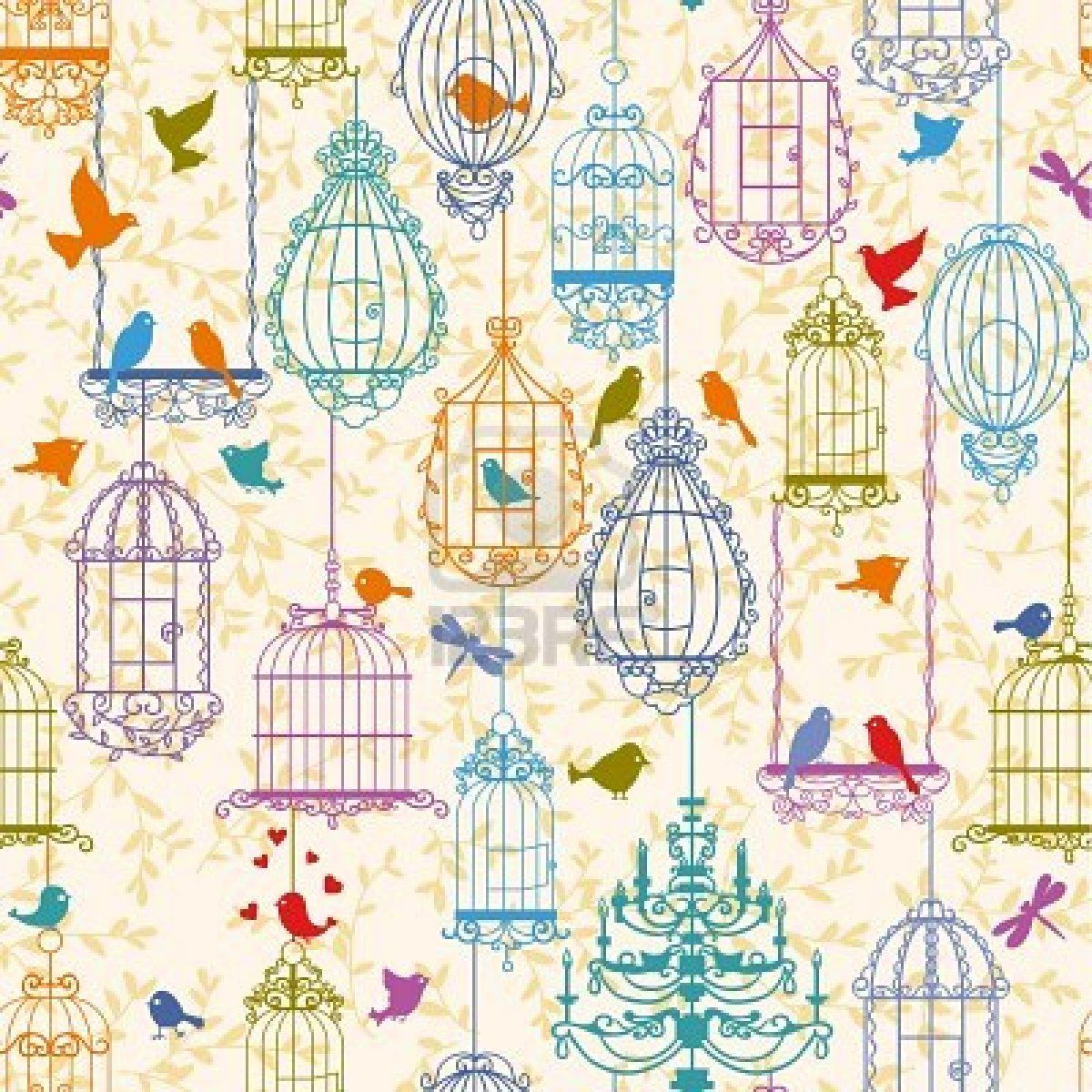 Vintage Dollhouse Wallpaper | Vintage Birdcage Wallpaper