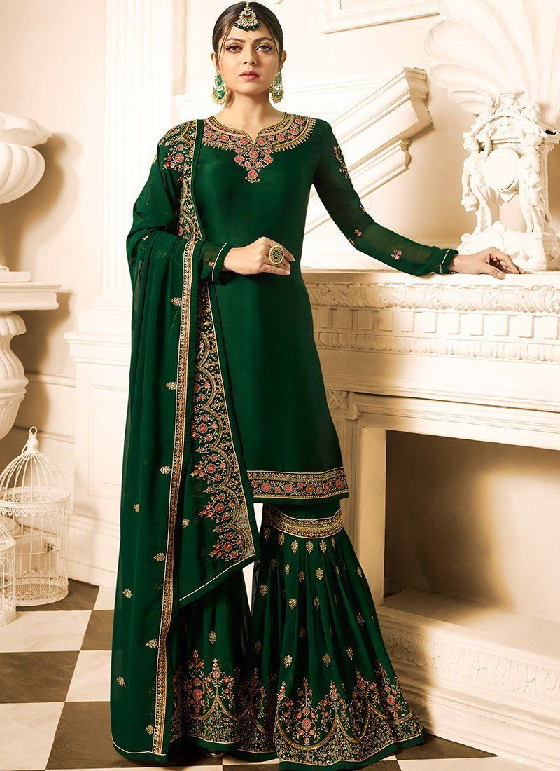 1439c6f4f4 A stunning Green Madhubala Designer Gharara Palazzo Suit. Satin Georgette  top with Embroidery Work and Georgette bottom, Georgette Dupatta. 100%  Original ...
