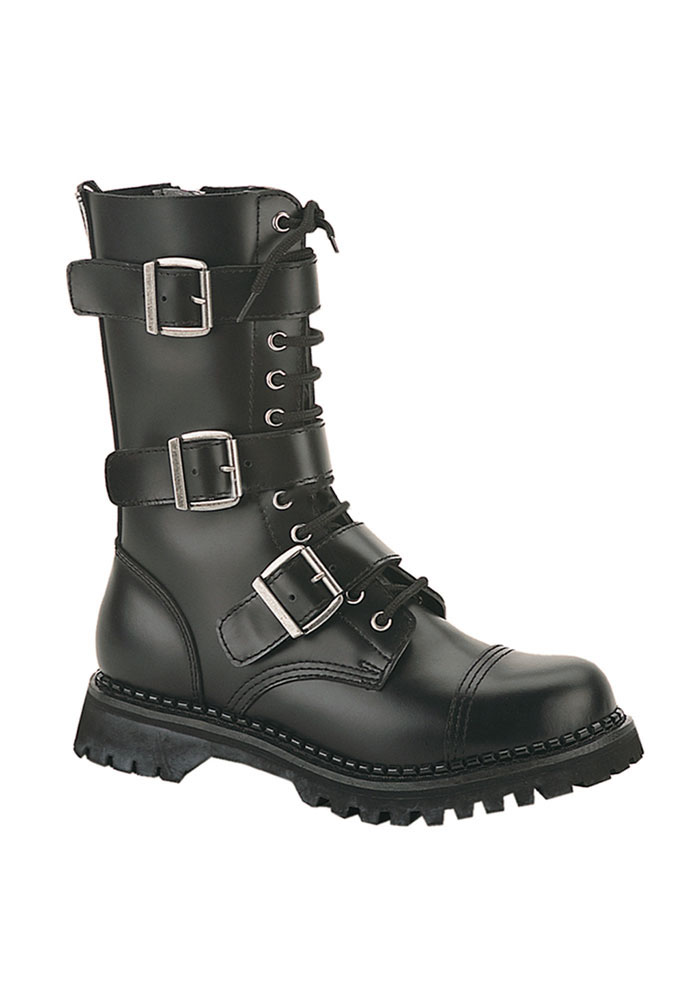 Riot 12 Goth Combat Biker Steel Toe Ankle Boots Black LEATHER Men Sizes 4-14