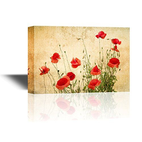 wall26 - Canvas Wall Art - Red Poppy Flowers on Vintage A... https ...