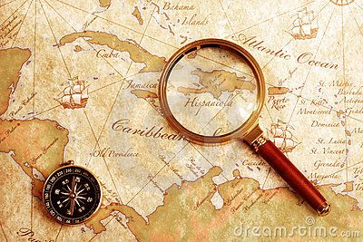 Old brass compass on a Treasure map | Maps & Mapping ...