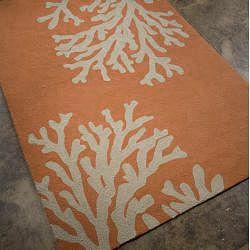 Nepos Hand-hooked Orange Rug (3'6 x 5'6)
