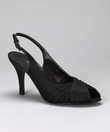 Take a look at this Vaneli Black Satin Purdy Peep-Toe Pump - Women by Women's Shoes Blow-Out on #zulily today!