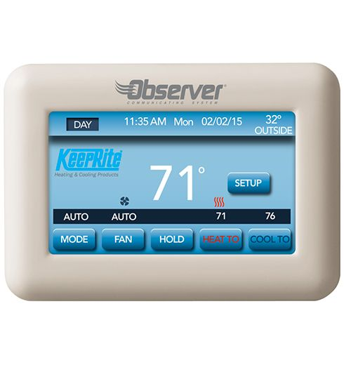Observer Communicating Wall Control With Wi Fi Capability Tstat0201cw Keeprite Thermostat Heating And Cooling Manual