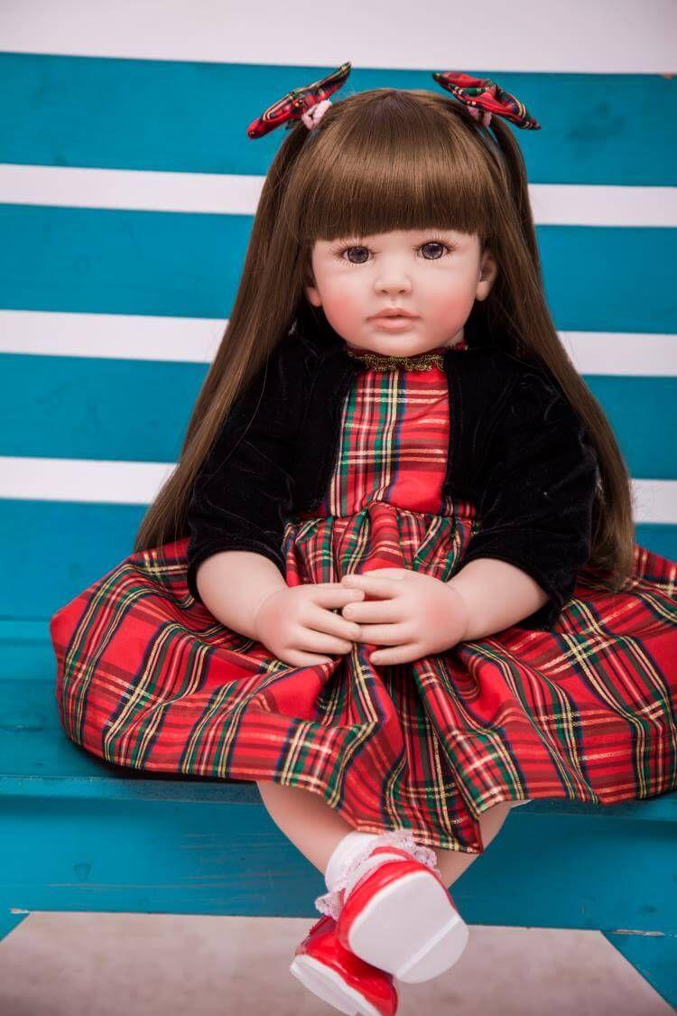 Real Size Reborn Baby Dolls Silicone Vinyl Soft Long Hair Reborn Toddler Girls