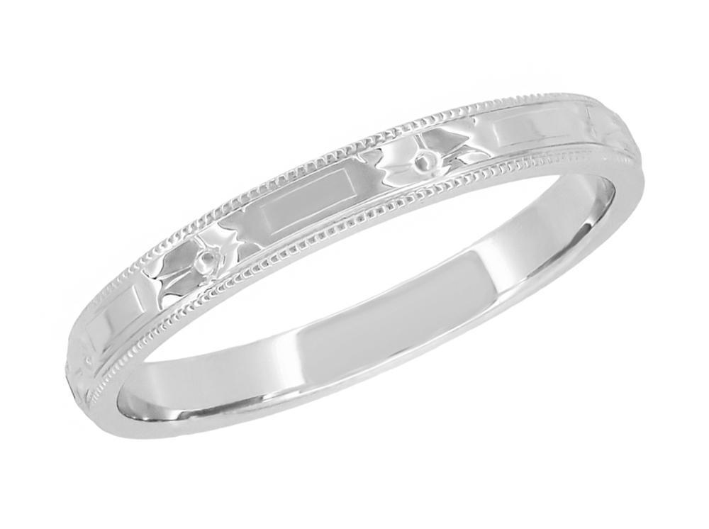 1920 S Art Deco Flowers And Bars Platinum Wedding Ring Platinum Wedding Rings Antique Wedding Rings Vintage Wedding Rings White Gold