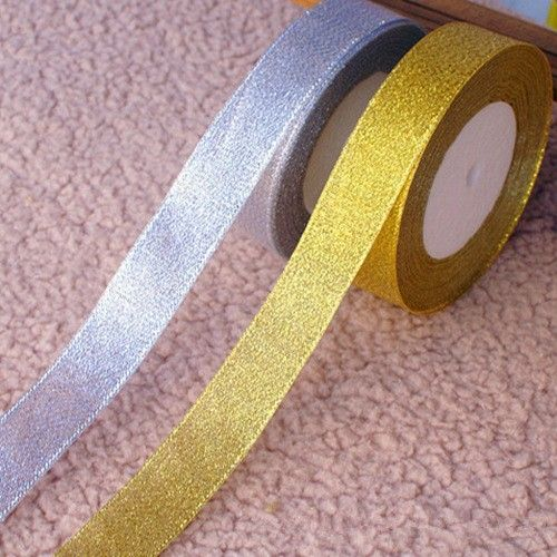 W1 2cm Gold Thread Ribbon With Silver Organza Flower Decoration Gift Ng Party Bouquet Sparking Webbing Glitter Belt Pinterest Flowers