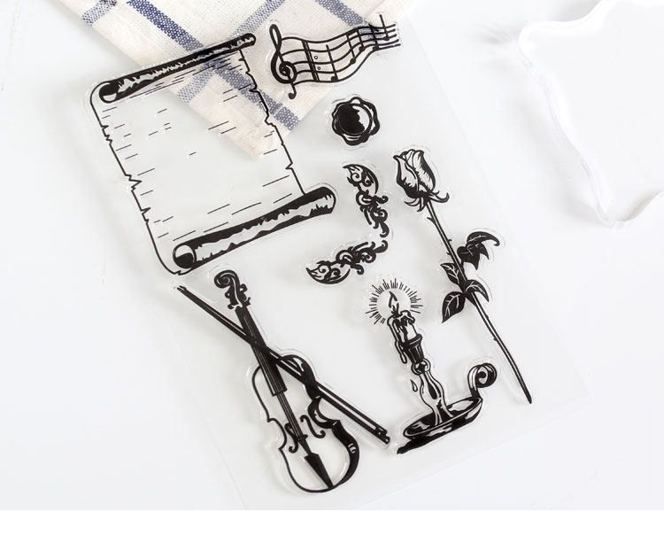 Clear Stamp Musical Instrument Rubber Scrapbook DIY Planner