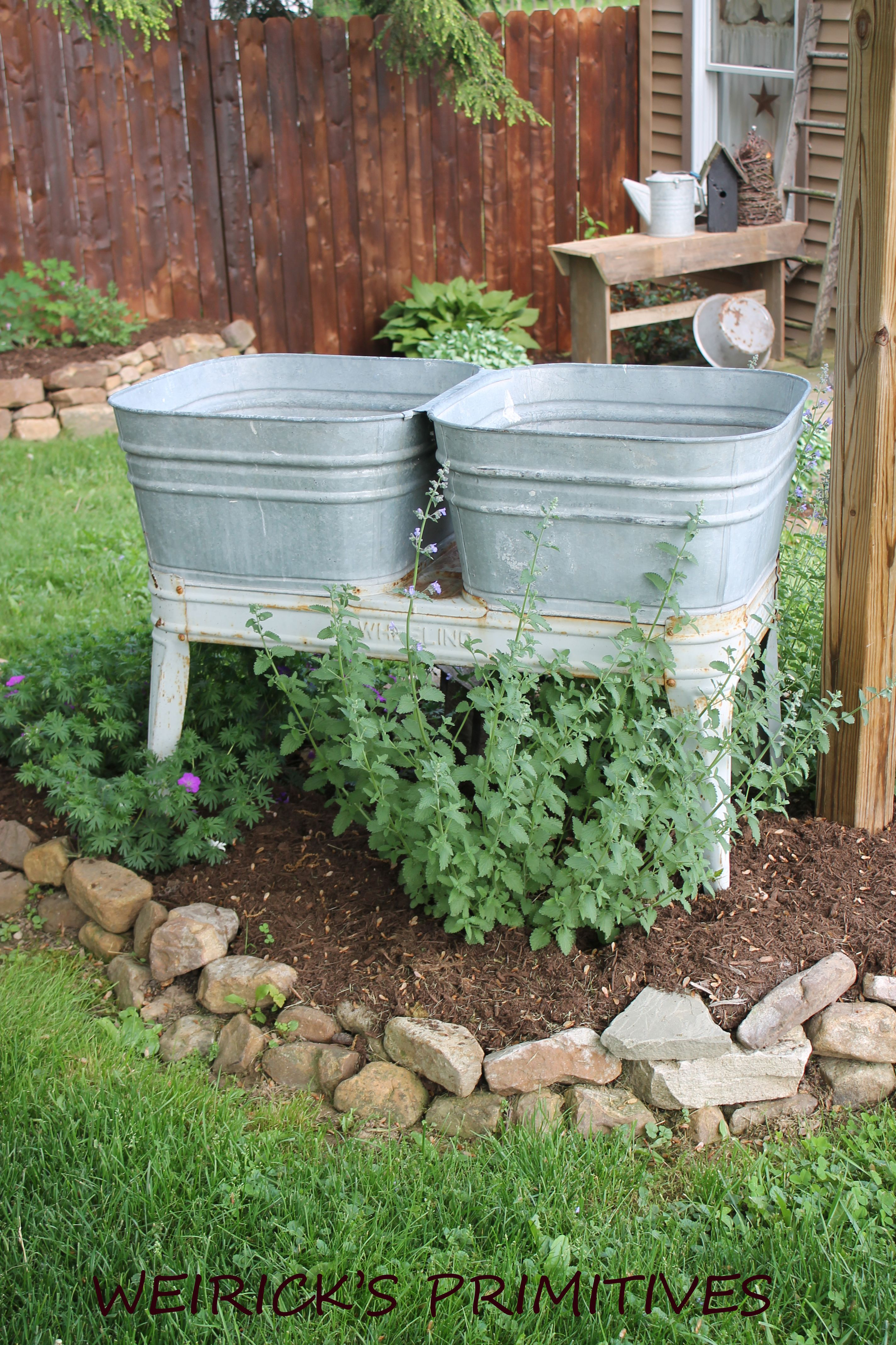 More Galvanized In Our Landscaping Our Double Wash Vat Primitive Garden Decor Garden Containers Outdoor Gardens