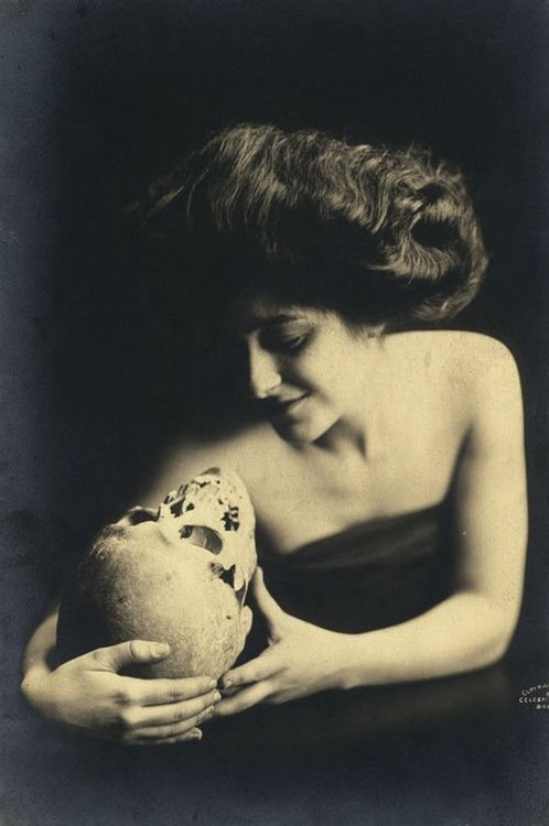 mapetitemelancolie:  Unknown Photographer- Woman with Skull, 1910s