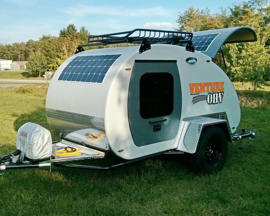 Rugged teardrop trailer spreads its gullwings deep into the wild ...