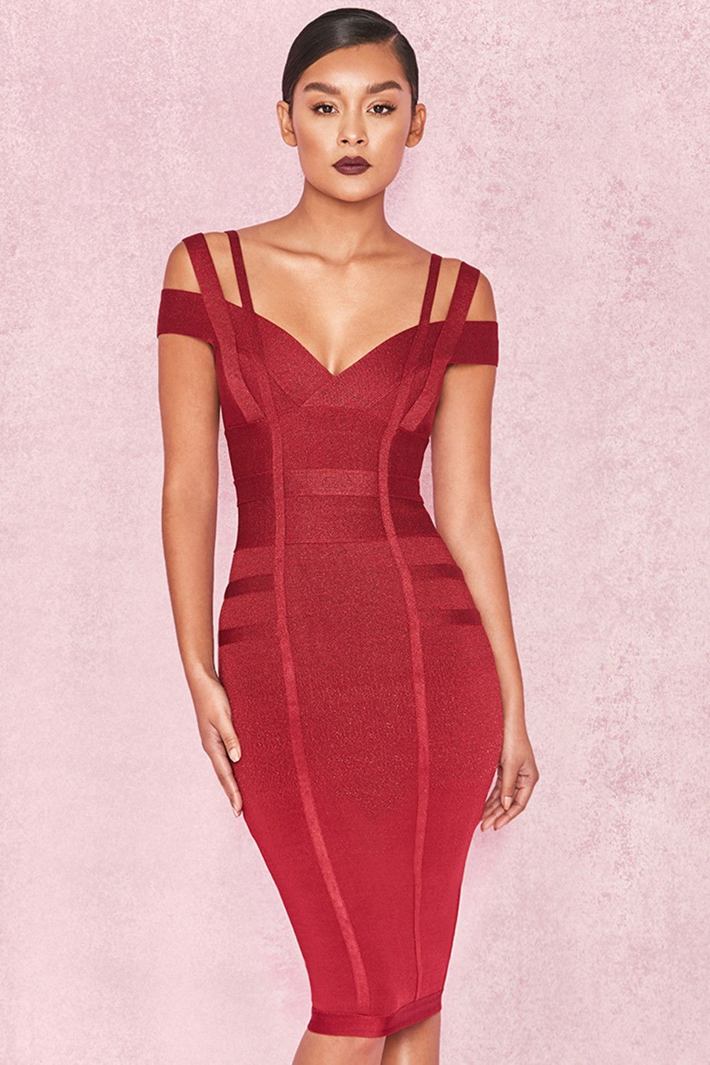 3b275b10b8 Clothing   Bandage Dresses    Mimi  Wine Off Shoulder Lurex Bandage Dress