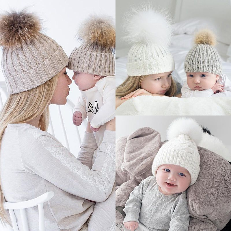 ae3b8421109 2PCS Mom Mother+Baby Knit Pom Bobble Hat Kids Girls Boys Winter Warm Beanie  Caps