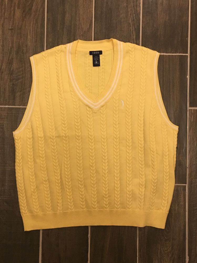 479ee00303df Vintage Yellow Golf Cable Knit Izod Sweater Vest Size XL  fashion ...