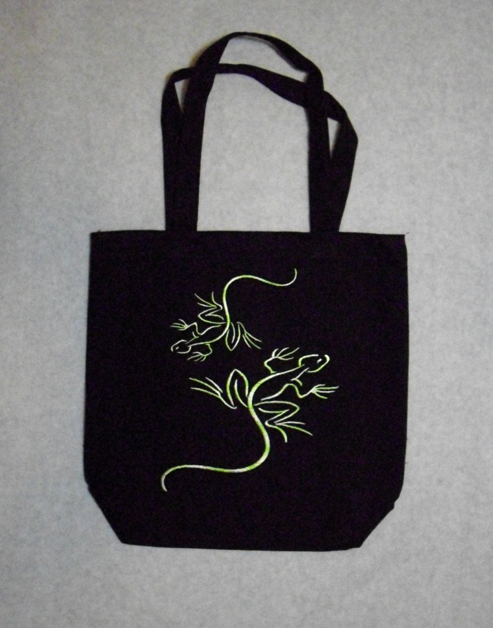 Tote Bag Lizards Tote Bag with Variegated Green Thread. Durable!