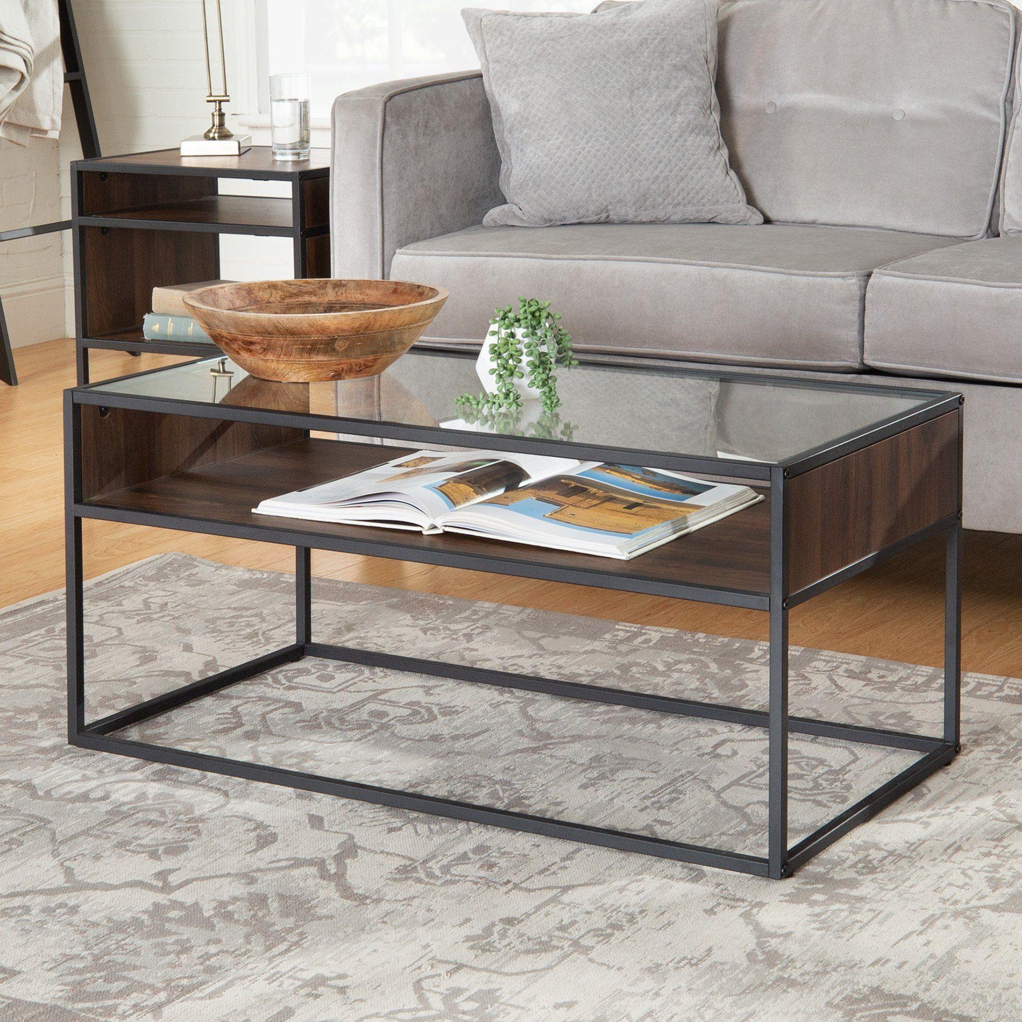 Dark Walnut And Glass Coffee Table Jersey Coffee Table Glass Coffee Table Iron Coffee Table [ 2000 x 2000 Pixel ]